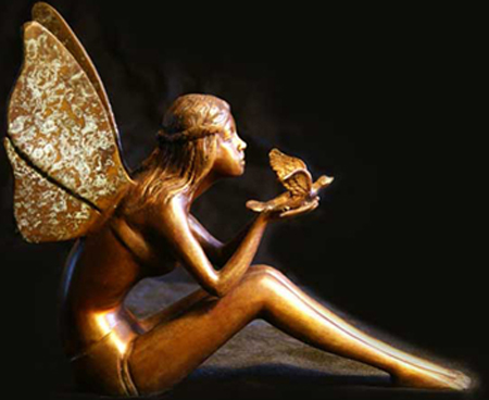 fairy and dove bronze figure