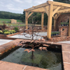 maple tree copper water feature in a square brick pond - by Gary Pickles of Metallic Garden