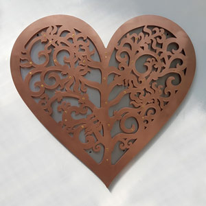 copper fundraising Filigree Heart