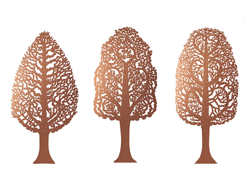 Hornbeam trees, copper donation recognition trees by Bronwen Glazzard