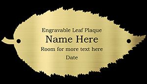 engraved brass Hornbeam leaf plaque