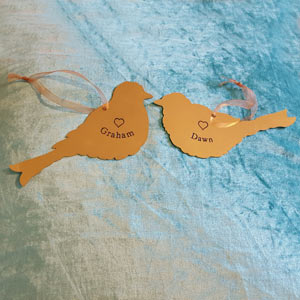 Love Birds engraved brass plaques