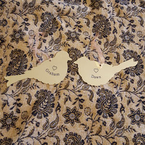 Love Birds brass plaques