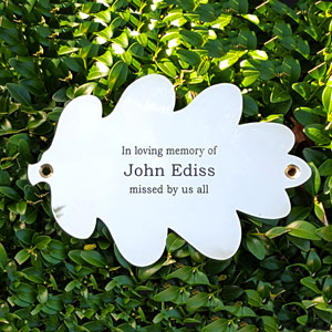 engraved brass oak leaf plaque by Metallic Garden