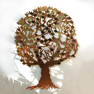 Love tree fundraising tree with brass curved leaf plaques by Bronwen Glazzard