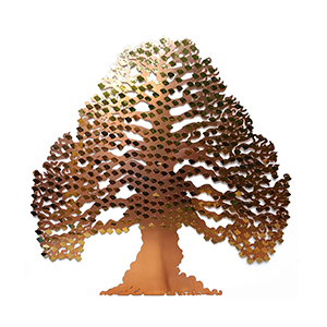 Eternal tree fundraising tree with brass curved leaf plaques by Bronwen Glazzard
