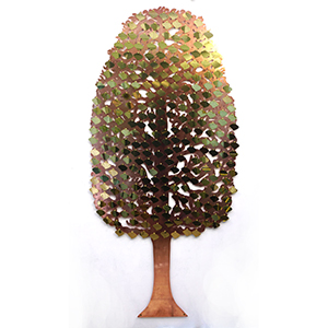 Giving Tree fundraising tree with brass curved leaf plaques by Bronwen Glazzard